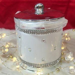Bella Lux Rhinestone Ceramic White Apothecary Jar
